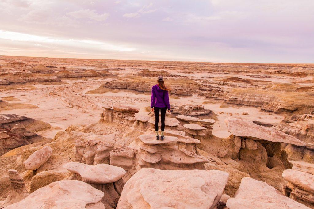 Female hiker in the desert alone