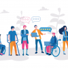 Web site ADA Compliance - people with disabilities in a colorful illustration